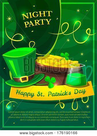 St. Patricks Day holiday poster vector illustration