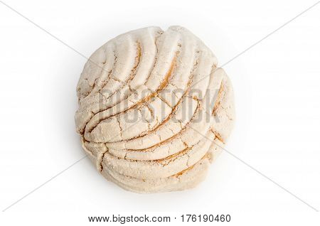 Conchas sweet bread traditional bakery of Mexico isolated on white