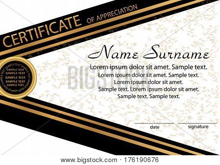 Gold and black template certificate of appreciation. Elegant background. Winning the competition. Reward. Vector illustration.