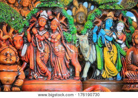 Lord Krishna and Radha statues