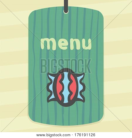 Vector outline sweet candy in wrapper food icon on label with hand drawn striped background. Elements for mobile concepts and web apps. Modern infographic logo and pictogram.