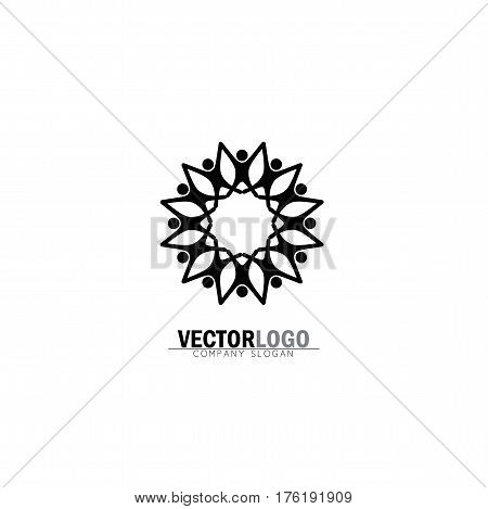Abstract Happy People Vector Logo Icons As Ring