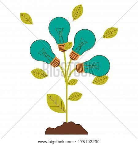 plant stem with leaves and Incandescent bulbs with light turquoise vector illustration