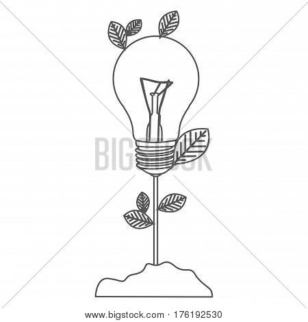 grayscale contour with plant stem with leaves and Incandescent bulb vector illustration