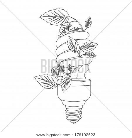 grayscale contour with spiral fluorescent bulb with creeper plant vector illustration