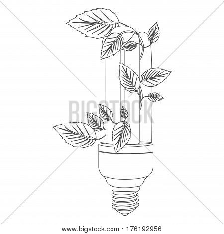 grayscale contour with fluorescent bulb and creeper plant close up vector illustration
