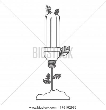grayscale contour with plant stem with leaves and fluorescent bulb vector illustration