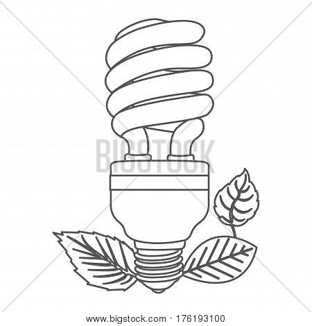 grayscale contour with fluorescent bulb spiral and leaves vector illustration