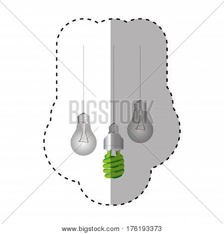 colorful silhouette sticker with pendant light bulbs and fluorescent bulb vector illustration