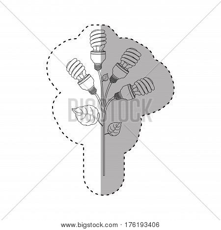 monochrome contour sticker of spiral fluorescent bulbs with plant stem and leaves vector illustration