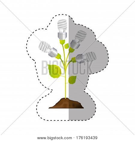 sticker colorful of plant stem with leaves and fluorescent bulbs in spiral vector illustration