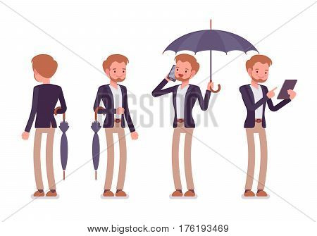 Set of young happy dandy wearing smart elegant casual wear, standing, holding fold and unfold black classic umbrella, phonetalking, with tablet, full length, white background, rear and front view