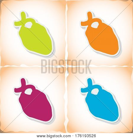 Human heart. Flat sticker with shadow on old paper. Vector illustration