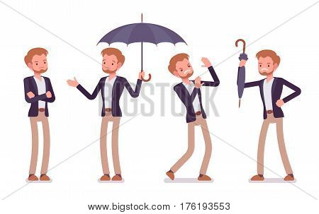 Set of young unhappy dandy wearing smart casual wear, showing negative emotions, aggressive, lost controll, depressed with bad weather, attacking with umbrella, full length, white background