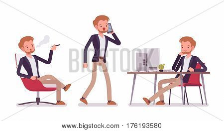Set of young dandy in smart casual wear in office situations, sharing coworking space, sitting at the desk, vaping, walking and talking on phone, isolated against white background, full length