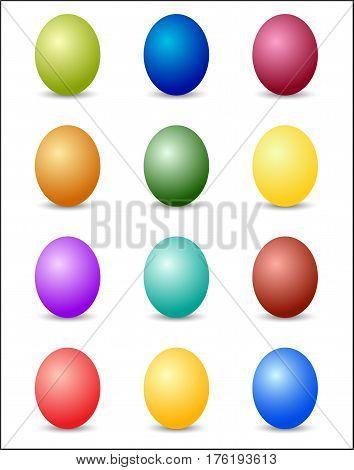 Easter Eggs Color Spectrum Background. Vector Illustration On White Background.