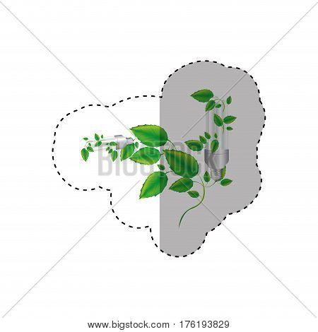 sticker colorful silhouette with two fluorescent bulb and creeper plant vector illustration
