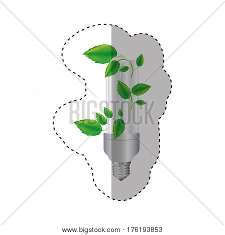 sticker colorful silhouette with fluorescent bulb and creeper plant vector illustration