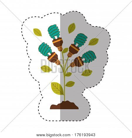 sticker of plant stem with leaves and fluorescent bulbs spiral with light turquoise vector illustration