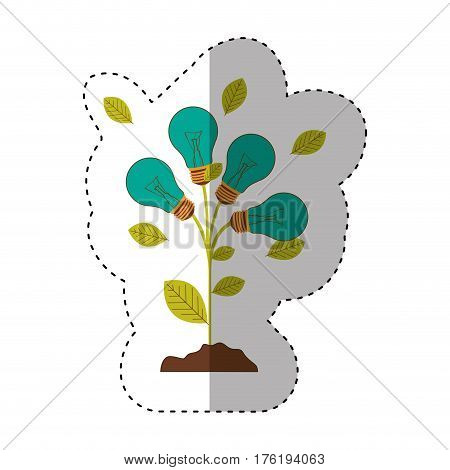 sticker of plant stem with leaves and Incandescent bulbs with light turquoise vector illustration