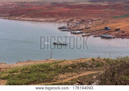 Ship sailing at Mae Ngad dam in Chiangmai Thailand