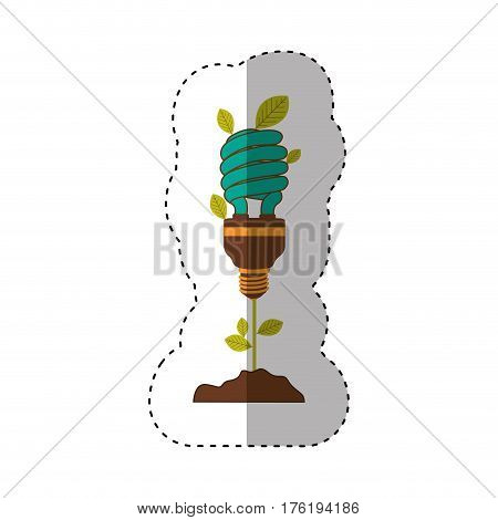 sticker of plant stem with leaves and fluorescent bulb spiral with light turquoise vector illustration