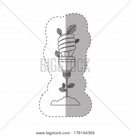 sticker with grayscale contour with plant stem with leaves and fluorescent bulb spiral vector illustration