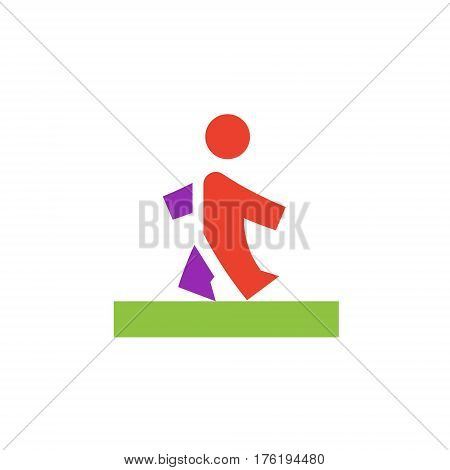 Vector icon or illustration showing walking human pedestrian in material design style
