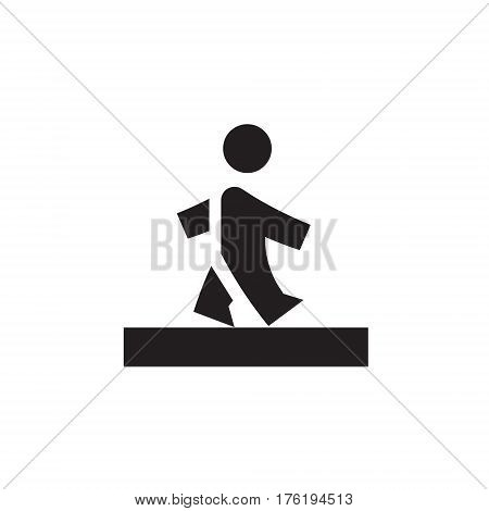 Vector icon or illustration showing walking human pedestrian in one color