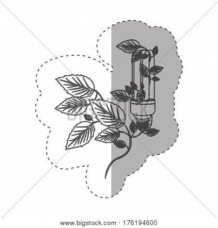 sticker with grayscale contour with fluorescent bulb and creeper plant vector illustration
