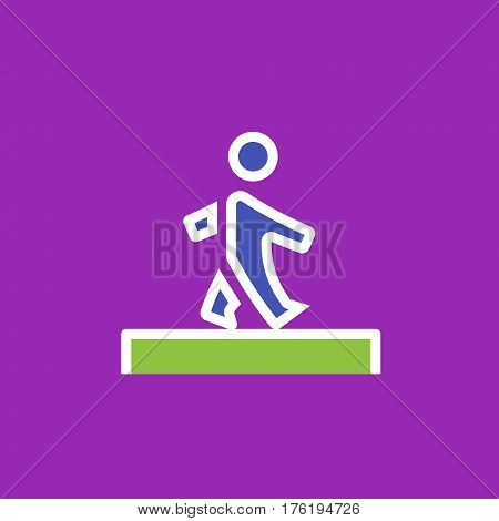 Vector icon or illustration showing walking human pedestrian in outline style