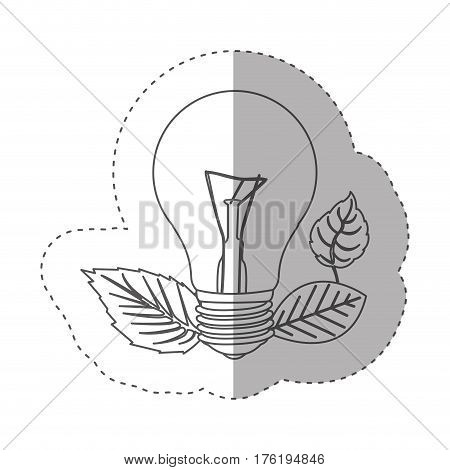 sticker with grayscale contour with light bulb and leaves vector illustration