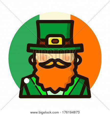 St. Patricks Day, Leprechaun in green hat, line art vector illustration