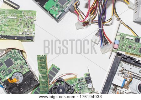 Electronic circuitry on a white background, top view.