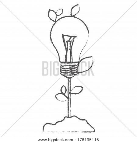monochrome sketch with plant stem with leaves and Incandescent bulb vector illustration