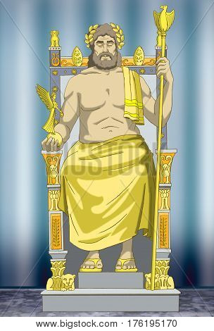 Statue of Zeus. Wonders of the world. Digital Painting Background Illustration in cartoon style character.