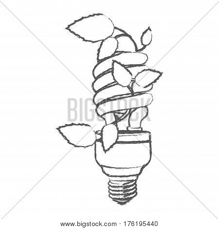 monochrome sketch with spiral fluorescent bulb with creeper plant vector illustration