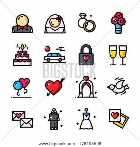 Thin line Wedding Day icons set, Married outline logos vector illustration