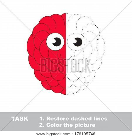 Rasp berry in vector to be traced. Restore dashed line and color the picture. Visual game for children. Easy educational kid gaming. Simple level of difficulty. Worksheet for kids education.