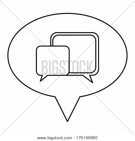 monochrome contour of oval speech with dialogue box vector illustration