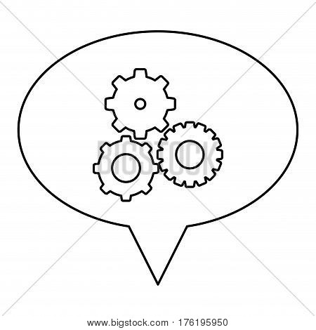 monochrome contour of oval speech with pinions set vector illustration