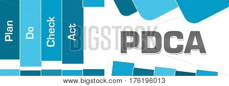 PDCA text alphabets written over blue abstract background.