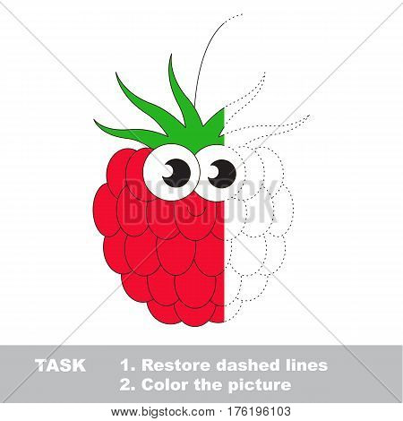 Raspberry in vector to be traced. Restore dashed line and color the picture. Visual game for children. Easy educational kid gaming. Simple level of difficulty. Worksheet for kids education.