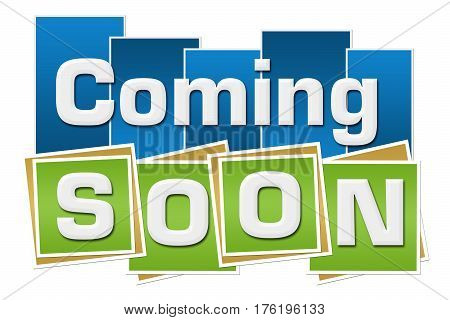 Coming soon text written over green blue background.
