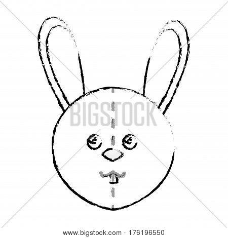 cute rabbit plush doll vector illustration design
