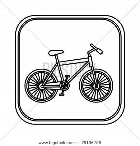 monochrome rounded square with bicycle vector illustration