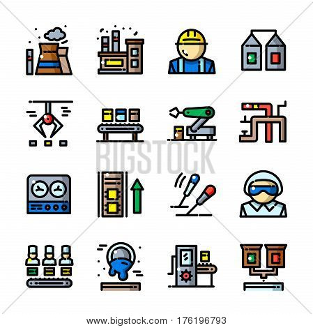 Thin line Factory icons set, Heavy Industry outline logos vector illustration