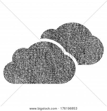 Clouds vector textured icon for overlay watermark stamps. Fabric black vectorized texture. Symbol with unclean design. Rubber seal stamp with fiber textile structure.