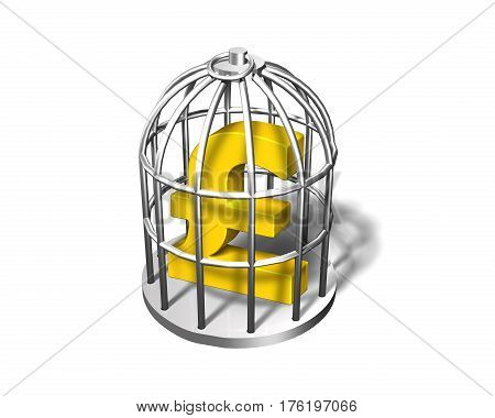 Golden Pound Symbol In The Silver Cage, 3D Illustration