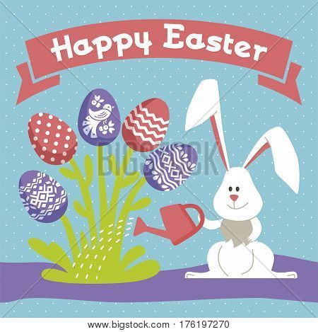 Happy Easter - modern vector template card. A holiday gift flyer with rabbit, egg, ornament rabbit, egg, flower, grass, leaf, water, watering-pot